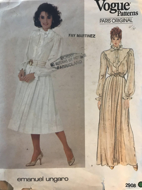 Vogue Paris Original Emanuel Ungaro Dress Sewing Pattern 2908 Size 10 Knee or Evening Length