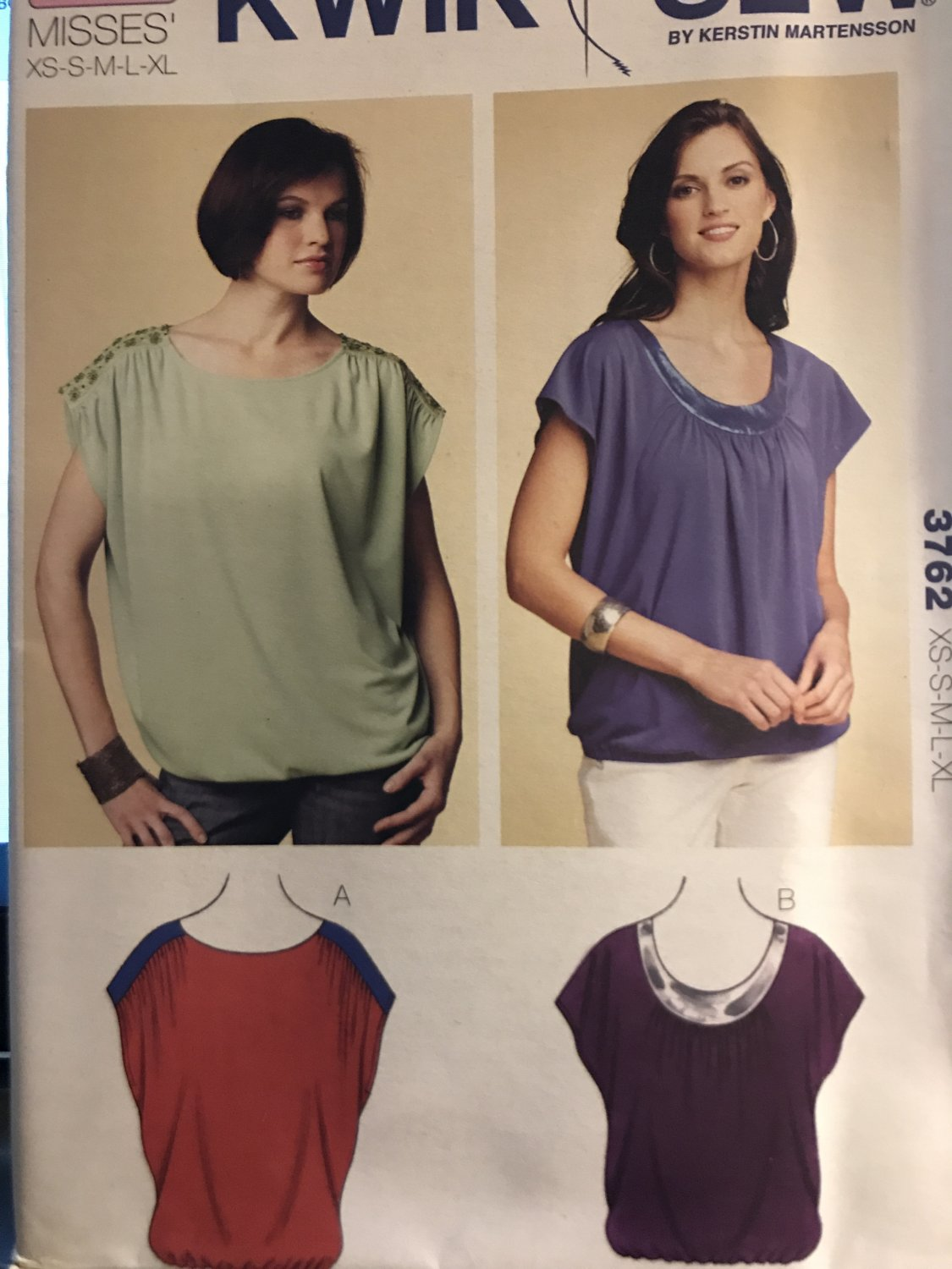 Kwik Sew 3762 Misses' Top Easy to sew Top Sewing Pattern Size XS to XL
