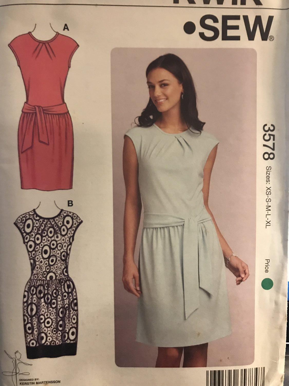 Kwik Sew Sewing Pattern 3578 Misses Sleeveless Knit Dresses Sizes XS-XL