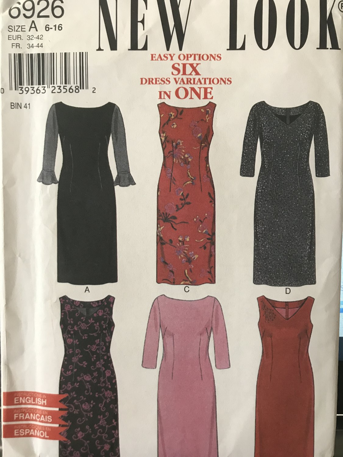 New Look 6926 Misses Dress with sleeve variations Size 6 - 16 sewing pattern