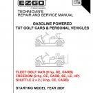 EZ-GO Repair & Service Manual 2007 Gas TXT Golf Cars & PVs 605586 On CD