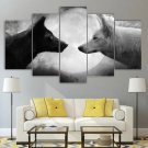 Wolf Wall Art Framed Yin And Yang Wolf Canvas Home Decor Black And White