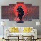 Moon Oriental Samurai Warrior Canvas Wall Art Framed Mythical Decor Framed
