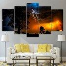 Lightning Canvas Wall Art Framed Storm Decor Framed Night Landscape