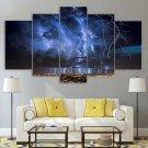 Thunder And Lightning Canvas Wall Art Framed Storm Decor Framed Night Landscape