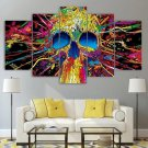 3d Neon Wall Art / Psychedelic Skull Canvas Framed / Trippy Print Horror Poster 5 Piece