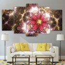 Retro Colorful Flowers Wall Art Psychedelic Canvas Framed Print Fractal Flower Home Decor