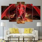 Red Dragon Canvas Art Framed / Fire Breathing Dragon Poster 5 Piece