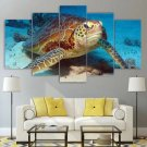 Turtle Canvas Framed Decor Sea Life Wall Art 5 Piece Painting Poster Framed Gift Idea Print