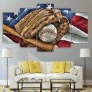 Baseball Canvas Framed Vintage Decor USA Flag Wall Art 5 Panel Rustic Painting