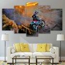 Dirt Bike Canvas Framed Decor Dirt Track Wall Art 5 Panel Painting