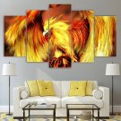 Phoenix From Ashes Canvas Framed Decor Fire Totem Wall Art 5 Panel Painting
