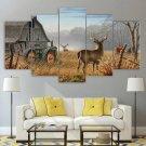 John Deere Tractor Canvas Wall Art Framed Deer Decor Framed Agriculture Landscape