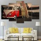Coolest VW Van Canvas Wall Art Volkswagen Bus Framed Surf Board Decor Framed