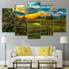 Landscape Farming Canvas Framed Palm Trees Home Decor Wall Art Sunset Painting Farm Poster