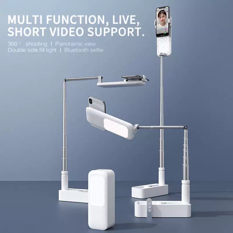 Portable Phone Holder Stand Wireless Dimmable LED Selfie Fill Light Lamp