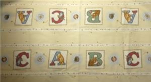 "CLASSIC POOH ABC Alphabet Nursery Fabric 1 yd  72"" long! Bumper Pad!"