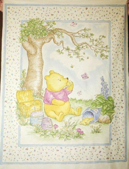 Classic Pooh Hunny Pots Ecru Quilt Fabric Panel Baby S