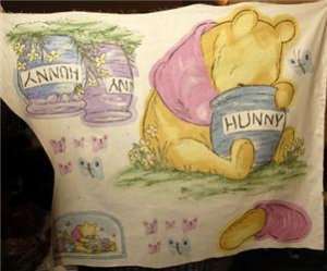 CLASSIC POOH Hunny Pots ECRU Nursery Fabric Panel Wall Hanging NEW