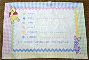 Winnie the Pooh Gingham Baby Keepsake Pillow Fabric Panel