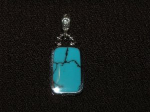2 sided silver pendant lapis and turquoise - 8511