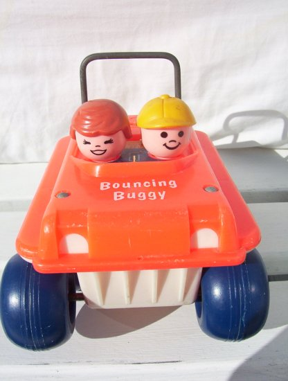 VINTAGE FISHER PRICE BOUNCY BUGGY pull toy #122 - 1973 www.rootbeer.ecrater.com