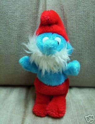 """VINTAGE 6"""" PAPA Smurf Smurfs Plush 1981 Wallace Berrie Stuffed Plush - www.rootbeer.ecrater.com"""