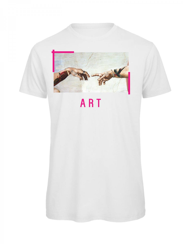 OPENSPACE SIZE S 100% organic cotton, vegan, biodegradable packaging, art t-shirt for man, white
