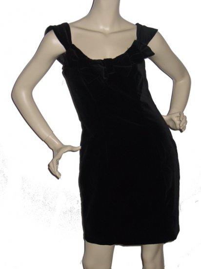 "$145 LAURA ASHLEY Black Velvet ""Bow"" Dress Sz 8 Medium"