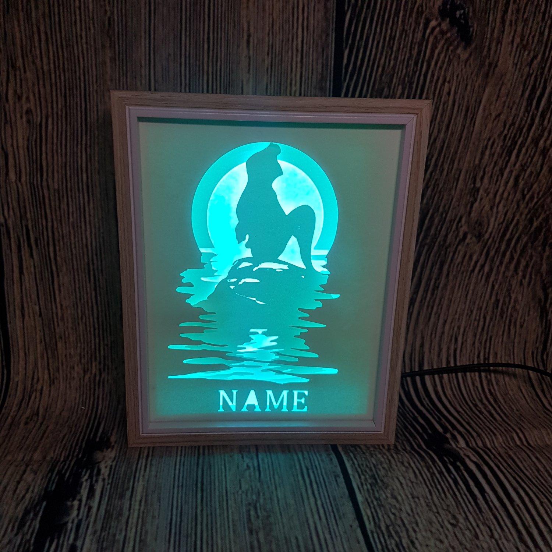 personalised mermaid ariel sunset papercut shadow box, night light digital templet, svg, pdf, scut 5