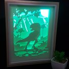 dinosaur t-rex  papercut shadow box, night light digital templet, svg, pdf, scut5  D