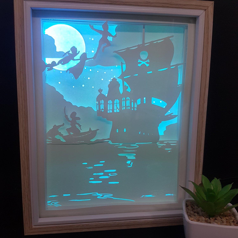 Peter Pan- captain hook  inspired  papercut shadow box, night light digital templet, svg, pdf, scut5
