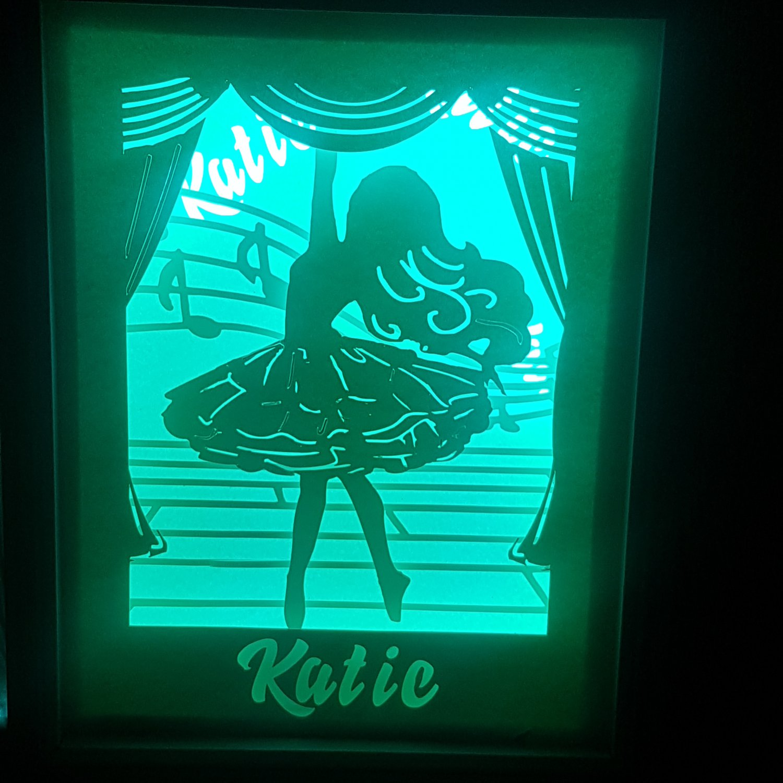 personalised  little balerina papercut shadow box, night light digital templet, svg, pdf, scut5