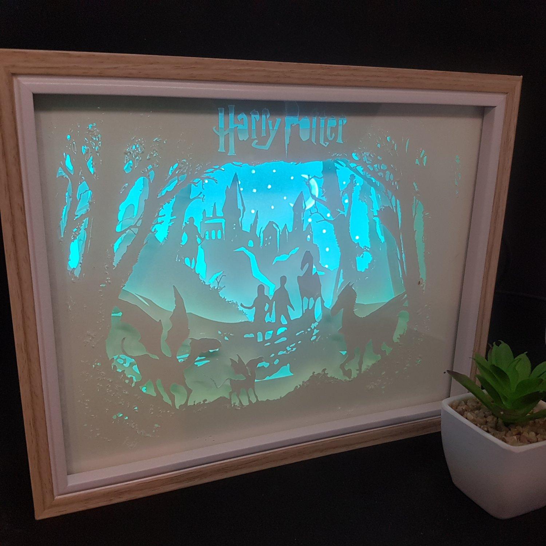 HARRY POTTER   inspired papercut shadow box, night light digital templet, svg, pdf, scut5