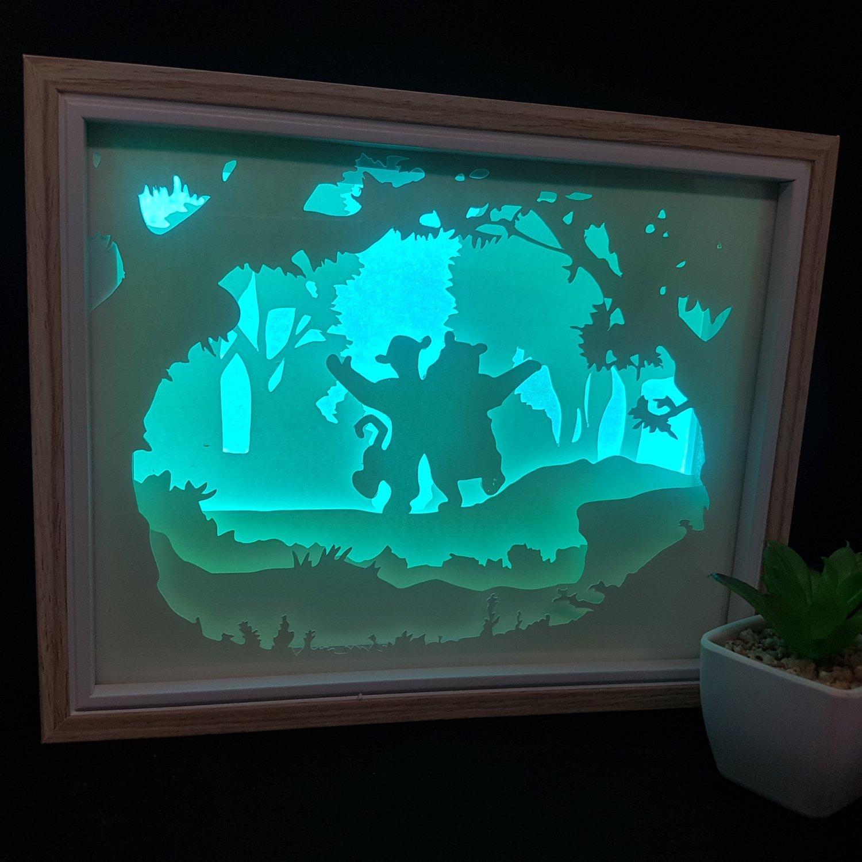 WINNIE THE POOH TIGER inspired papercut shadow box, night light digital templet SVG PDF SCUT