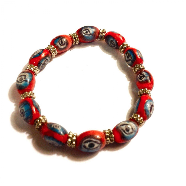 Evil Eye Stretch Bracelet Red