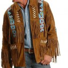 Western Men's Brown New Look Cheap Suede Genuine Cowboy Leather Jacket with Fringe (Size 3XL)