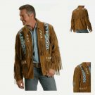 Western Men's Brown New Look Suede Genuine Cowboy Leather Jacket with Fringe (XL Size)