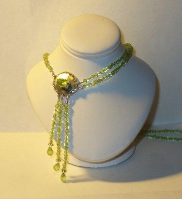 Genuine Peridot and Sterling Necklace in Handmade Elegant Asymmetrical Design