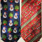 2 NEW Ties Men's Christmas Polyester Necktie Snowman ~ FAST FREE SHIPPING ! ~