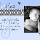 Blue Monogram Boy Photo Birth Announcement