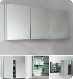 "Fresca FMC8019 59"" Wide Bathroom Medicine Cabinet w/ Mirrors"