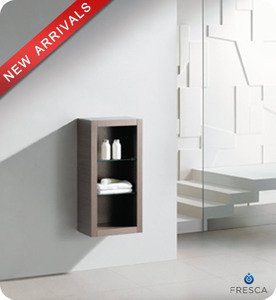 "Fresca FST8130GO 15.75""""W x 30""""H  Bathroom Linen Side Cabinet w/ 2 Glass Shelves - Gray Oak"