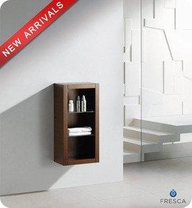 """Fresca FST8130WG 15.75""""""""W x 30""""""""H Brown Bathroom Linen Side Cabinet w/ 2 Glass Shelves - Wenge Bro"""
