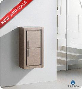 """Fresca FST8140GO 15.75""""""""W x 32""""""""H Bathroom Linen Side Cabinet w/ 2 Doors - Gray Oak"""