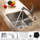 """Kraus KHU121-23-KPF2110-SD20 Stainless Steel 23"""""""" Undermount Single Bowl Kitchen Sink with Faucet"""