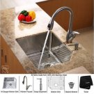 "Kraus KHU121-23-KPF2120-SD20 Stainless Steel 23"""" Undermount Single Bowl Kitchen Sink with Faucet"
