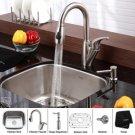 "Kraus KBU11-KPF2121-KSD20 Stainless Steel  20 """" Undermount 16 Gauge Single Bowl Kitchen Sink with"