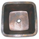 """Linkasink C006 WC 3/2"""""""" Drain Small 16"""""""" Square Lav Copper sink - Weathered"""