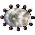 """Linkasink D206 DB 1.5"""""""" Metal Beaded Oval W/Black Lip Shell Sink Drain - Dark Bronze"""